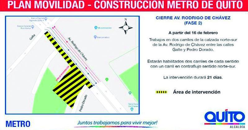 Metro de Quito: continuación de trabajos en la Av. Rodrigo de Chávez y Pedro Dorado