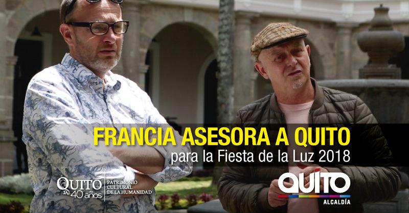 Artistas franceses de la Fiesta de la Luz 2018 realizan preparativos en Quito