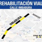 Rehabilitación vial del Centro Histórico avanza por la calle Imbabura