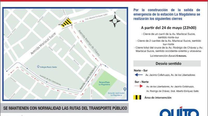 Metro de Quito: Cierre en la avenida Mariscal Sucre