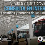 Terminales interprovinciales: Usuarios pueden consultar destinos y horarios en línea