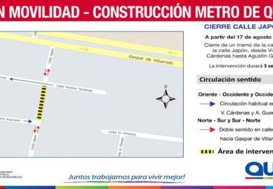 Metro de Quito: Cierre de circulación en un tramo de calle Japón