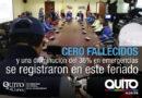 El primer balance del feriado registra 0 fallecidos, en el Distrito Metropolitano de Quito