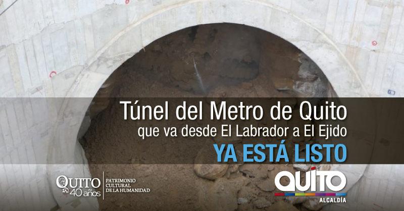 Tuneladora La Guaragua concluyó su trabajo de excavación en el Metro de Quito
