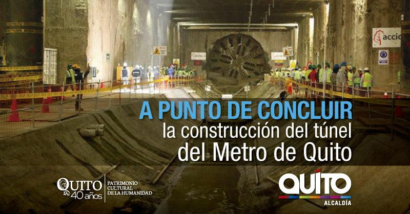 94% de construcción registra el túnel del Metro de Quito