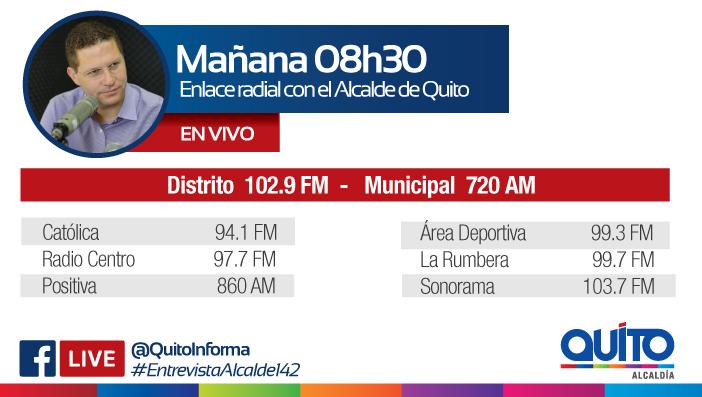 Este miércoles 19 de septiembre las radios de la Capital entrevistan al alcalde Mauricio Rodas