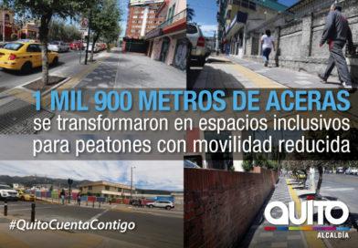 Quito cuenta con aceras inclusivas en tres  sectores de la  ciudad