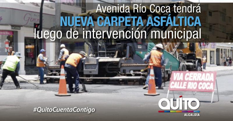 Inicio la repavimentación en la avenida Río Coca