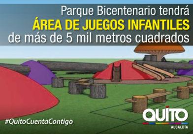 Innovadora zona de juegos infantiles se construye en el parque Bicentenario