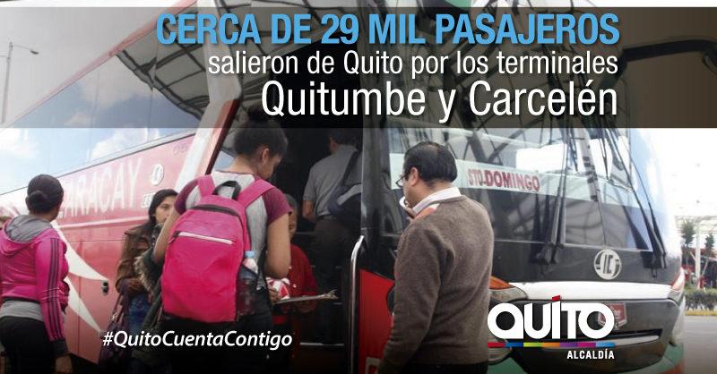 En los terminales de Quitumbe y Carcelén el movimiento de pasajeros fue normal