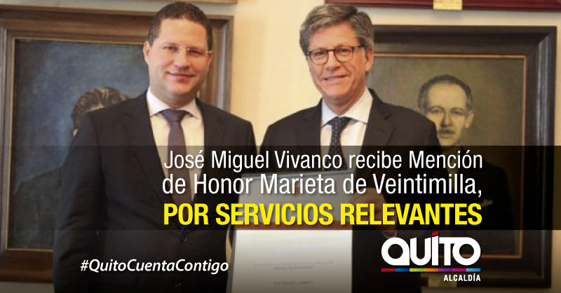 """Alcalde Rodas entregó a José Miguel Vivanco Condecoración """"Marieta de Veintimilla"""""""