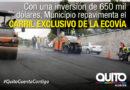 Carril Exclusivo de la Ecovía se repavimenta entre el hospital Eugenio Espejo y la Río Coca