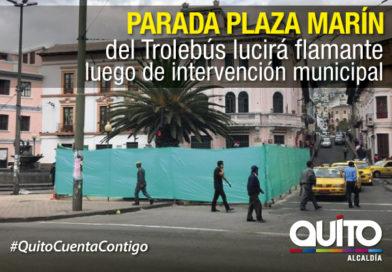 En construcción nueva parada Plaza Marín del Trolebús