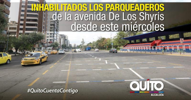 Plazas de estacionamiento en la Shyris temporalmente inhabilitadas