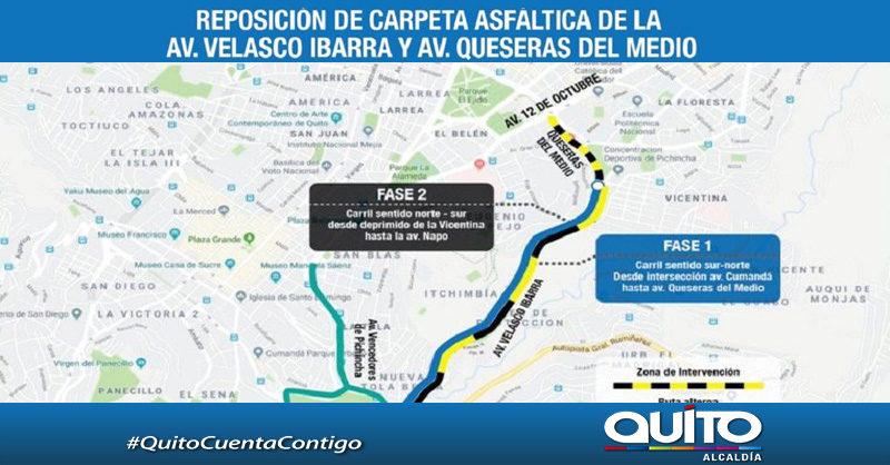 Inicia cambio de carpeta asfáltica en avenidas Velasco Ibarra y Queseras del Medio