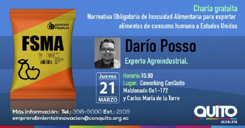 Charla: FSMA normativa obligatoria de inocuidad alimentaria para exportar alimentos de consumo humano a Estados Unidos