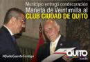 El Club Ciudad de Quito recibió la condecoración Marieta de Veintimilla