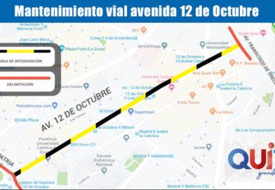 Inicia mantenimiento vial en la avenida 12 de Octubre