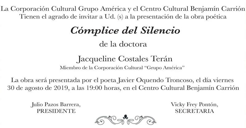 'Cómplice del silencio' poemario en la Casa Carrión
