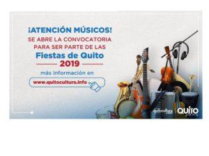 CONVOCATORIA MÚSICOS FIESTAS DE QUITO 2019