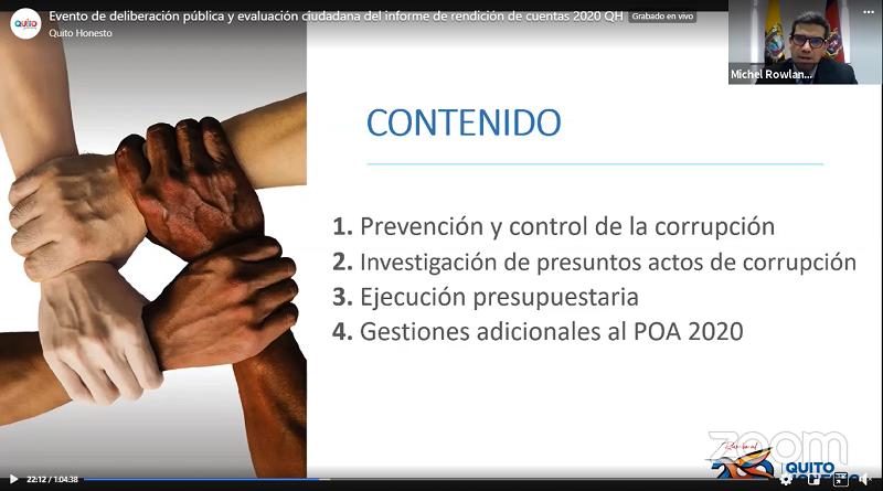 Rendición de cuentas 2020 Quito Honesto
